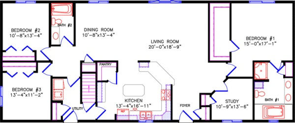 Floor plan for Rectangle house plans