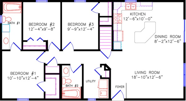 Floor plans 4 for 30x40 2 story house plans