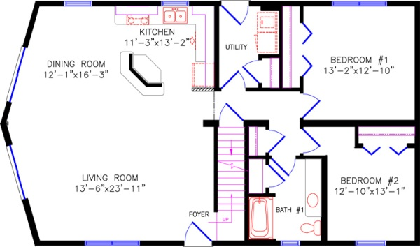 Floor plans 5 for 28x48 house plans