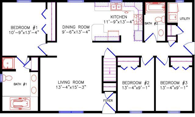 Floor plan for 28x48 floor plans